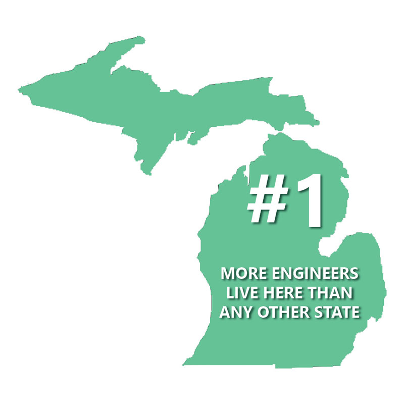Engineers in Michigan map